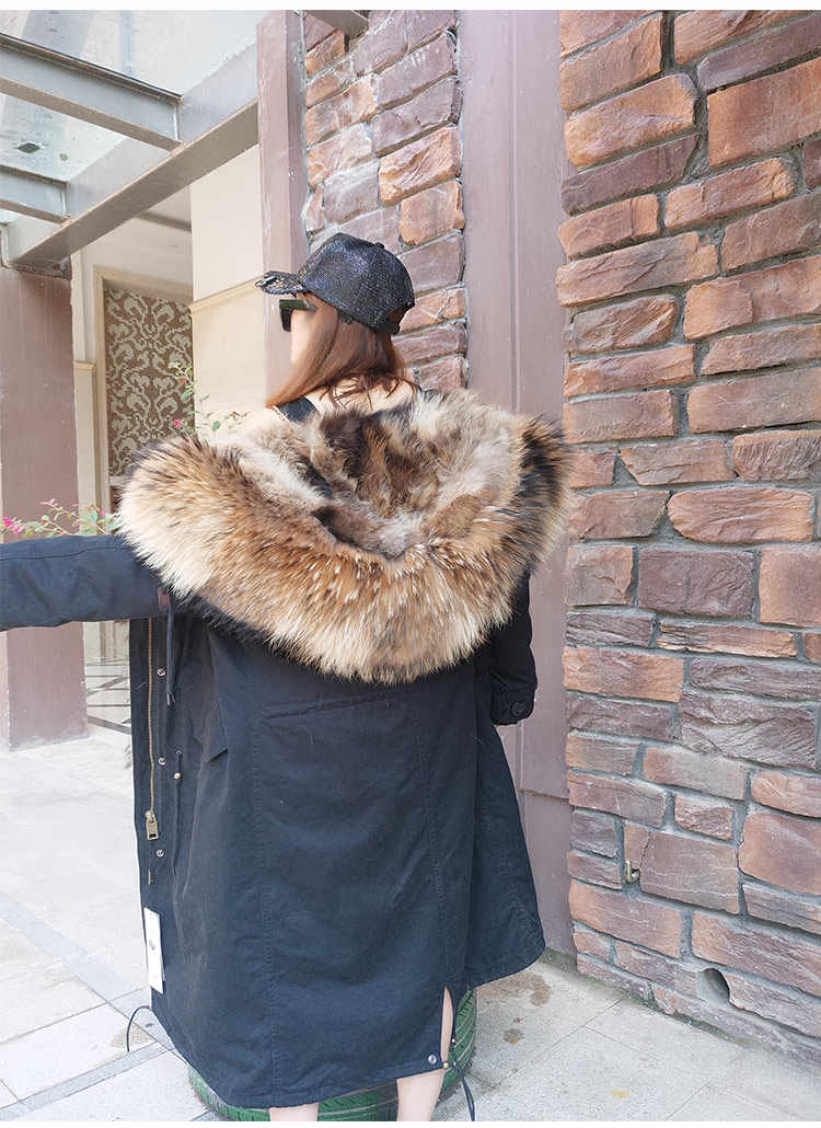 X-uzun 2019 Kış Ceket Kadınlar Gerçek Kürk Parka Doğal Rakun Kürk Yaka Tilki Kürk Astar Kalın Sıcak ayrılabilir Streetwear