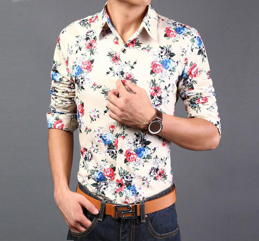 2015 floral shirts men slim fit 14 types printed dress for Types of dress shirts