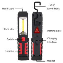 COB LED Flashlight Magnetic Rechargeable Work Light 3 Modes 360 Degree Stand Hanging Torch Lamp For Work with USB Cable boruit cob xml t6 led flashlight 360 degree rotation magnetic work light magnetic inspection lamp usb 18650 torch camping light