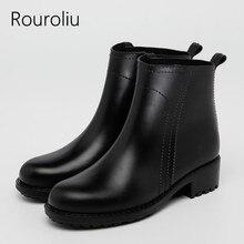 цена на Rouroliu Ankle Rubber Rain Boots Women Slip-on Short Waterproof Water Shoes Woman PVC Dress Wellies Candy Colors RT212