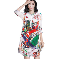 Spring Summer Women Tshirt Dress Animal Peacock Phoenix Flower Pull Midi T Shirt Dress Loose Faux
