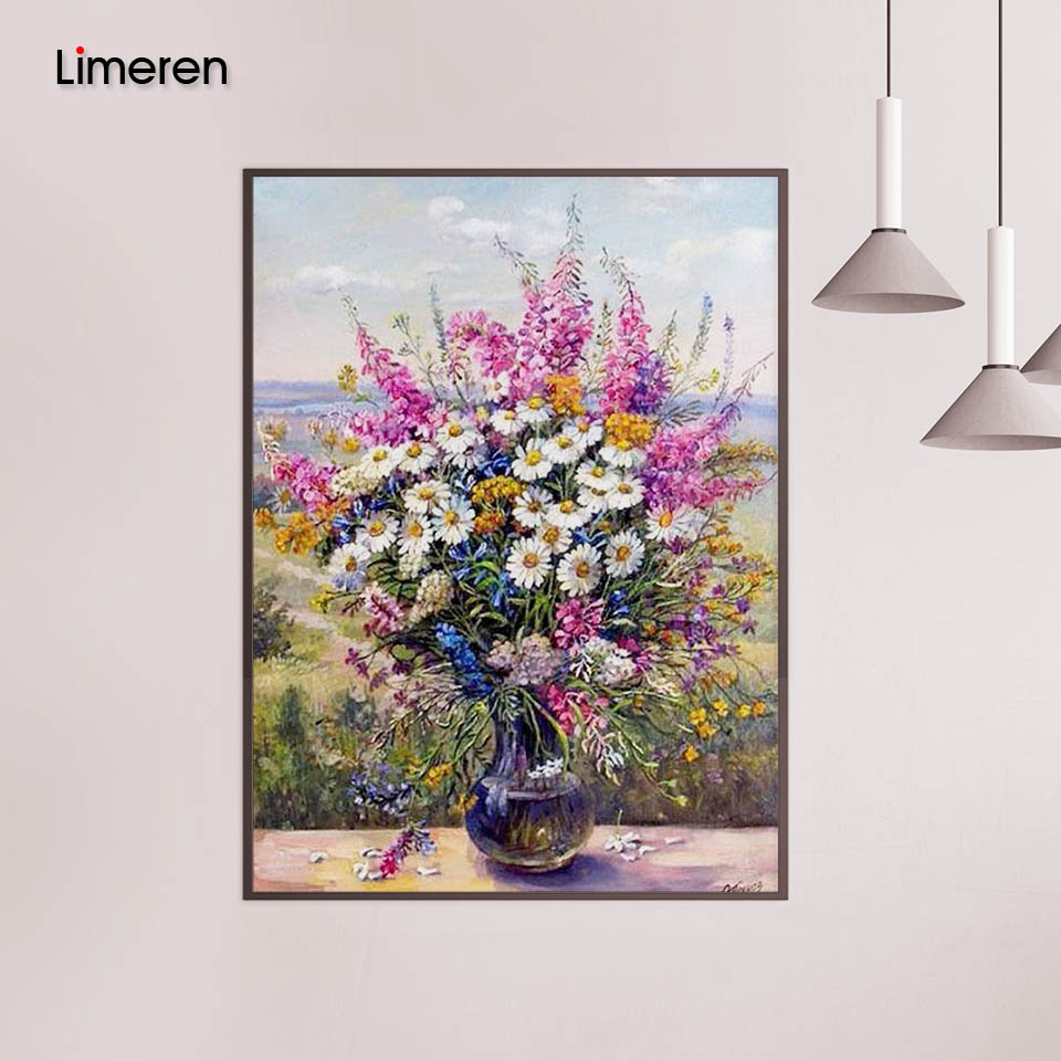 Framed Daisy Flower DIY Oil Painting Painting By Numbers Acrylic Paint On Canvas Home Decor For Living Room