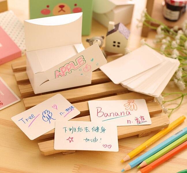 ZuverläSsig Freies Schiff! 1 Los = 6 Box (600 Stück)! 100/box Weiß Papierkarte/nachricht Karton/wort/visitenkarte/postkarte/karton