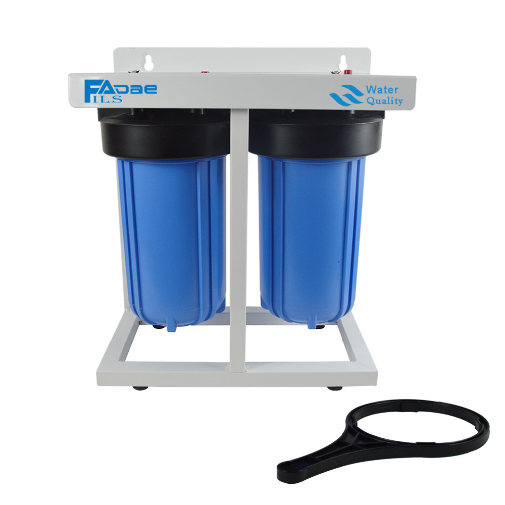 1 Port Dual Stage Big Blue Whole House Water Filtration System with Sediment & activated carbon filters with frame 110v home energy savings whole house energy management system e3 electrical noise filtration equipment protection
