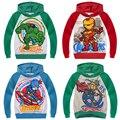 Los vengadores capitán américa iron man niños hoodies niños sudadera super hero primavera otoño escudo de manga larga outwear casual