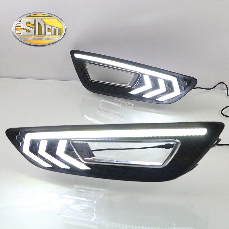 SNCN с желтый поворотный функция сетке матовая Крышка ABS 12В DRL автомобиля лампы светодиодные фары дневного света для Форд Фокус 2015 2016