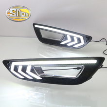 SNCN With Yellow Turning Function Grid Matte ABS Cover 12V Car DRL Lamp LED Daytime Running Light For Ford Focus 2015 2016