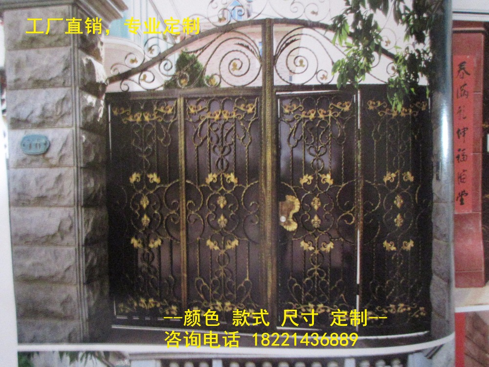 Custom Made Wrought Iron Gates Designs Whole Sale Wrought Iron Gates Metal Gates Steel Gates Hc-g101