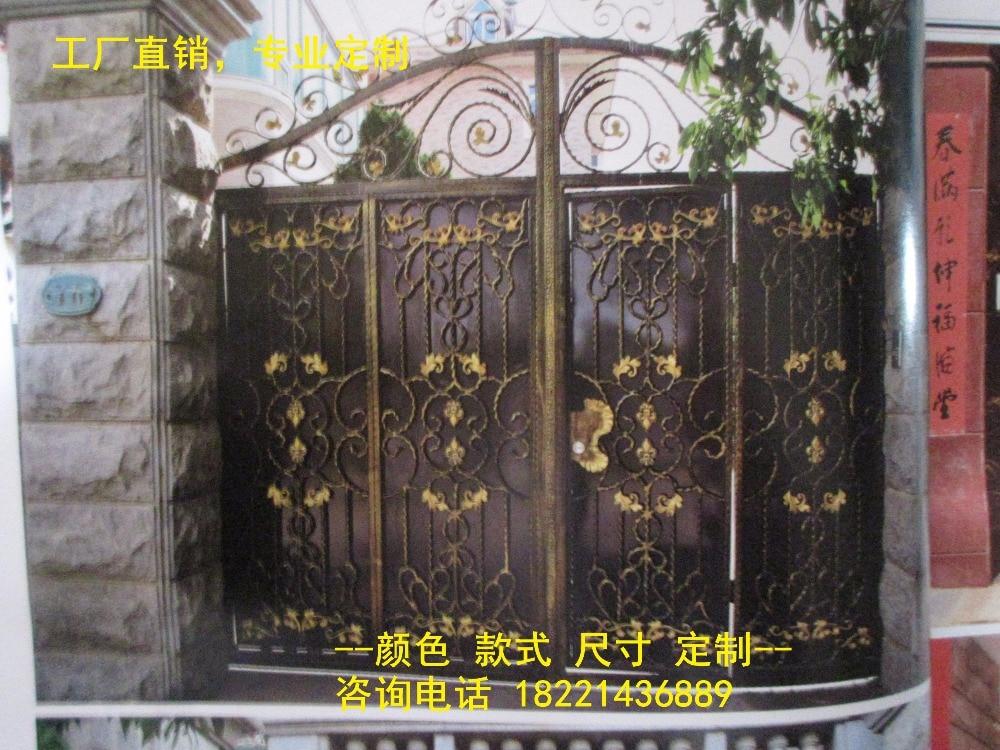 Custom Made Wrought Iron Gates Designs Whole Sale Wrought Iron Gates Metal Gates Steel Gates Hc-g101