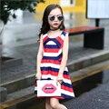 Meninas Vestido de Verão 2017 Nova Crianças Roupas Crianças Vestido Listrado Linda Festa de Natal Vestido Meninas Vestido de Verão
