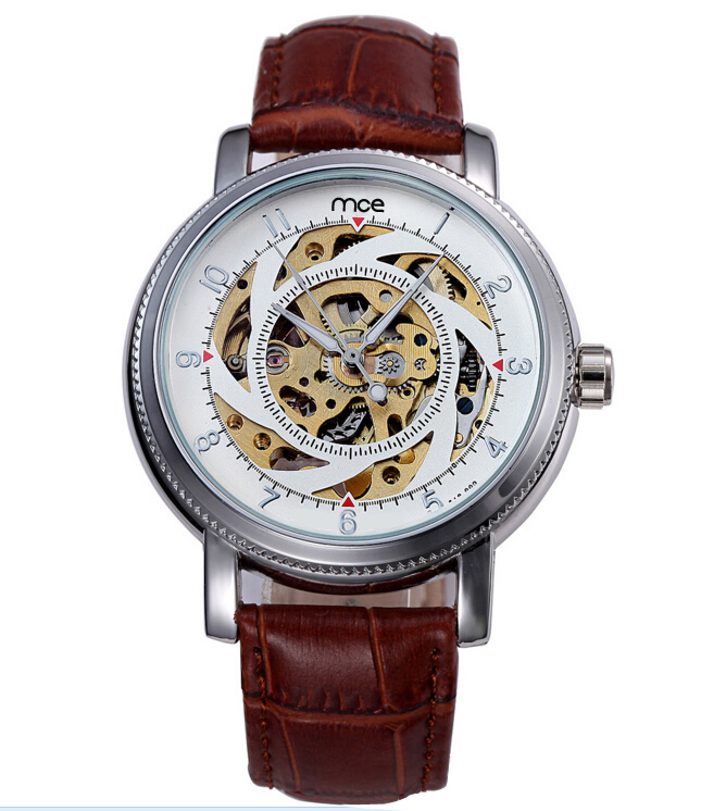 ФОТО 2017 New MCE Mechanical Automatic Watches Men Leather Band Casual Sport Watches Fashion Business Watch Water Proof Clock 470