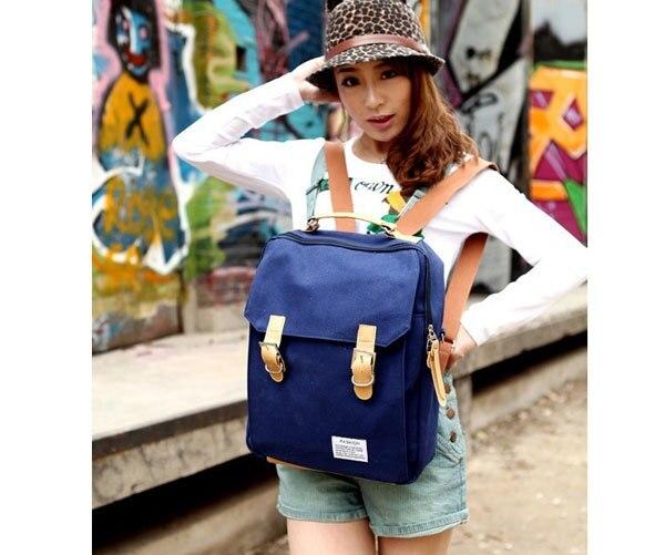 2015 Fashion Women Backpacks Black Brand school bag Blue canvas ...