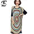 Plus Size Mulheres Roupas de Verão 2016 Nova Moda Vestidos de Impressão Casual Vestido Solto Feminino Longo Camisa Túnica Blusa XXXXXL XXXXL