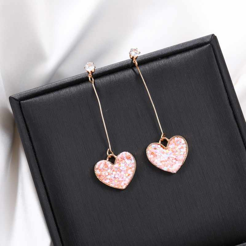 Double Heart Drop Earrings for women Geometric hanging Earrings female 2018 fashion modern jewelry Oorbellen accessories