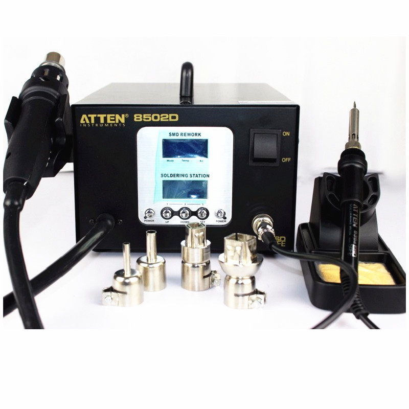 ATTEN AT8502D digital display hot air gun constant temperature lead free soldering iron two in one