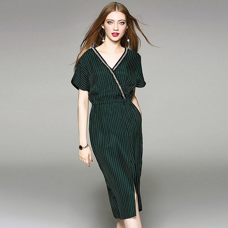 100 Cupra Dress Women Beading Cross V Neck Short Sleeves Elastic Waist Striped Straight Dress High