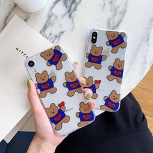 цена на INS Korea Simple cute Blue TOD Coffee Bear Phone case For iphone Xs MAX XR X 6 6s 7 8 plus Transparent soft TPU back Cover Coque