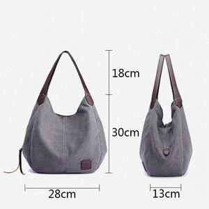 Image 3 - Sacs à main en toile Hobos pour femmes, sacoche de bonne qualité à épaule solide Vintage multi poches, fourre tout pour dames