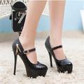 New Arrival European and American Style High Platform Fashion A-Word Buckle Women Pumps Patent Leather Zip High Heels 14cm Shoes