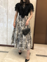 Luxury Print Midi Dress Black Lace Top Stand neck Short Ruffled Neck HIGH GRADE TULLE LACE Patchwork COTTON DRESS 2019 RUNWAY