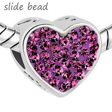 Fit Pandora charm bracelets  Mom Amethyst Purple Crystal Heart I Love You Rhinestone Beads Charms beads for jewelry making