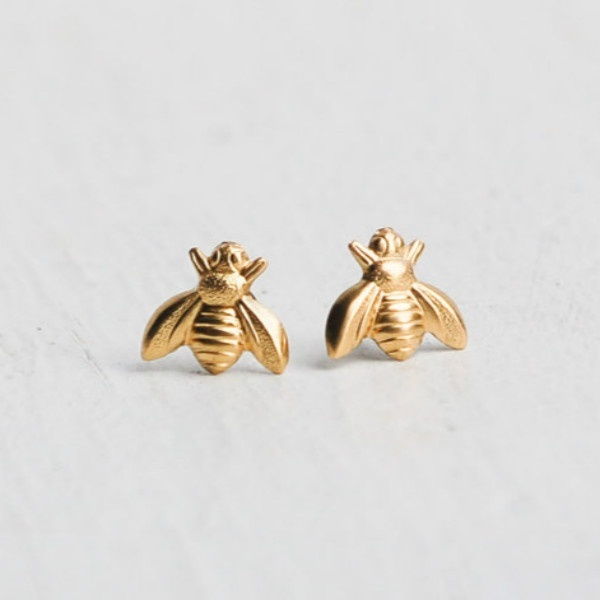 2019 Hot Sale 1 Pair Cute Tiny Bee Earring Jewelry Rose Gold/Silver Plated Honey Bee Earrings Stud Unique Earrings Jewelry Women