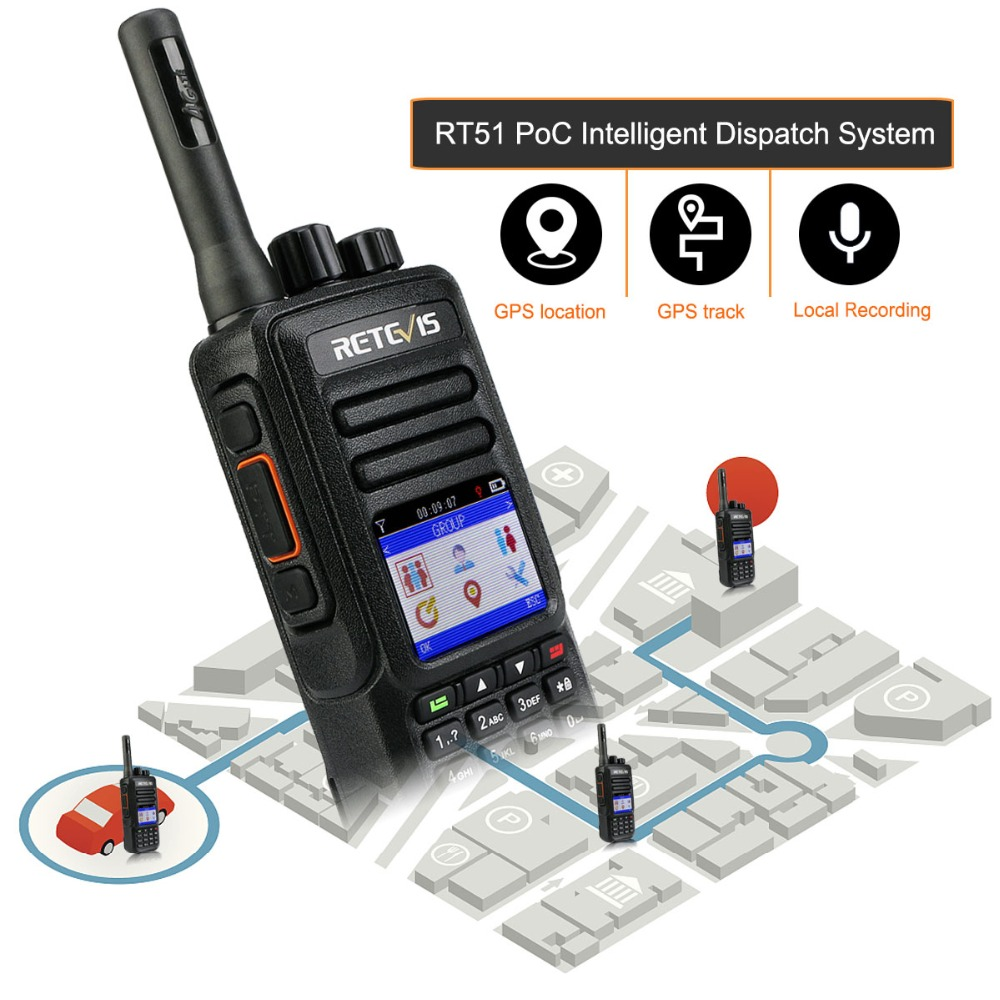 RETEVIS RT51 PoC Handset Radio Unlimited Distance 4G/LTE Network Walkie Talkie Unlicensed Two Way Radio Private/Group Call GPS