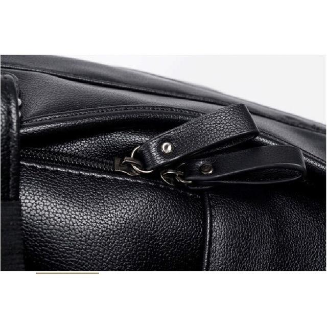 Lielang αδιάβροχο σακίδιο πλάτης & φορτιστής usb κινητού μαύρο δέρμα casual σχολική τσάντα για εφήβους