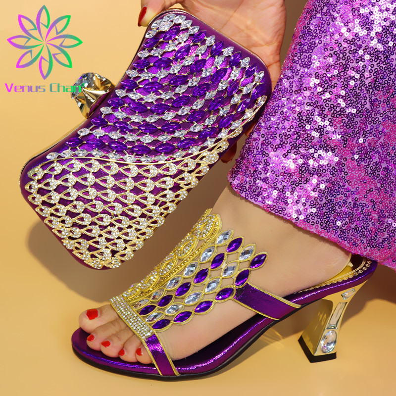 New Arrival Purple Color Italian Shoes with Matching Bags Shoes and Bag Set African Sets 2019 Fashion Sandals For Wedding Party