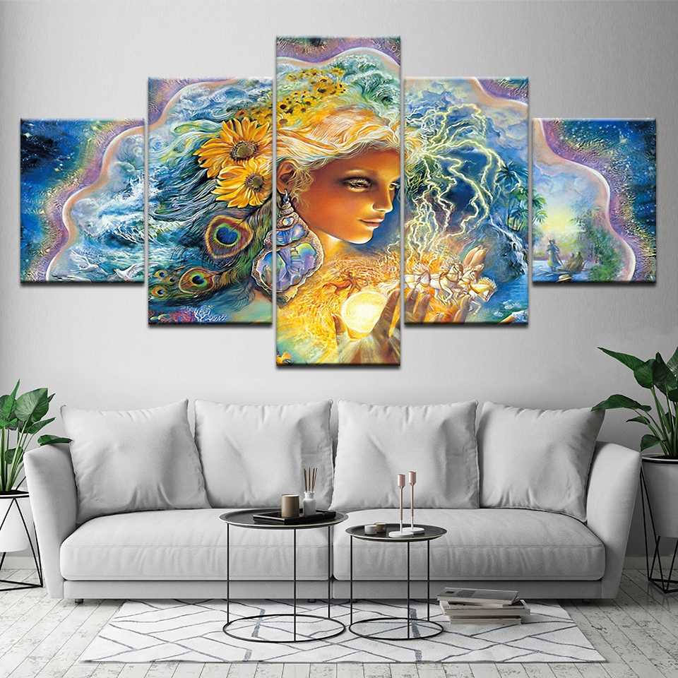 Aliexpress Com Buy Hdartisan Wall Canvas Art Pictures: 5 Piece Canvas Art Beautiful Girl Flower Abstract Oil