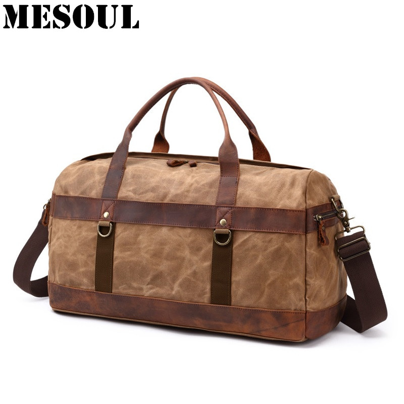 Aliexpress.com   Buy Vintage Waterproof Big Men Travel Bags Canvas Leather  Duffle Bag Male Tote Large Capacity Carry on Overnight Weekend Bag Luggage  from ... d5e9378462d5b