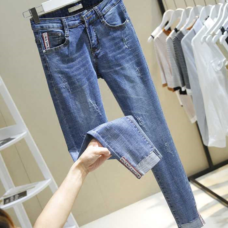 High Waist Women   Jeans   Striped Patchwork Skinny   Jeans   Casual Pants Slim Casual Blue Denim Winter   Jeans   Boyfriend Trousers