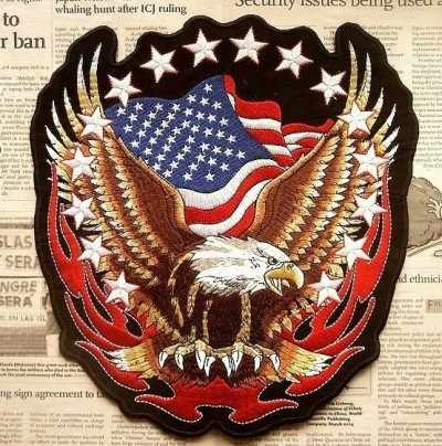 79cf241c ... Biker Patches Harley Eagle Flame Badges Embroidered Patches Motorcycles  Custom Made Iron On Patches ...