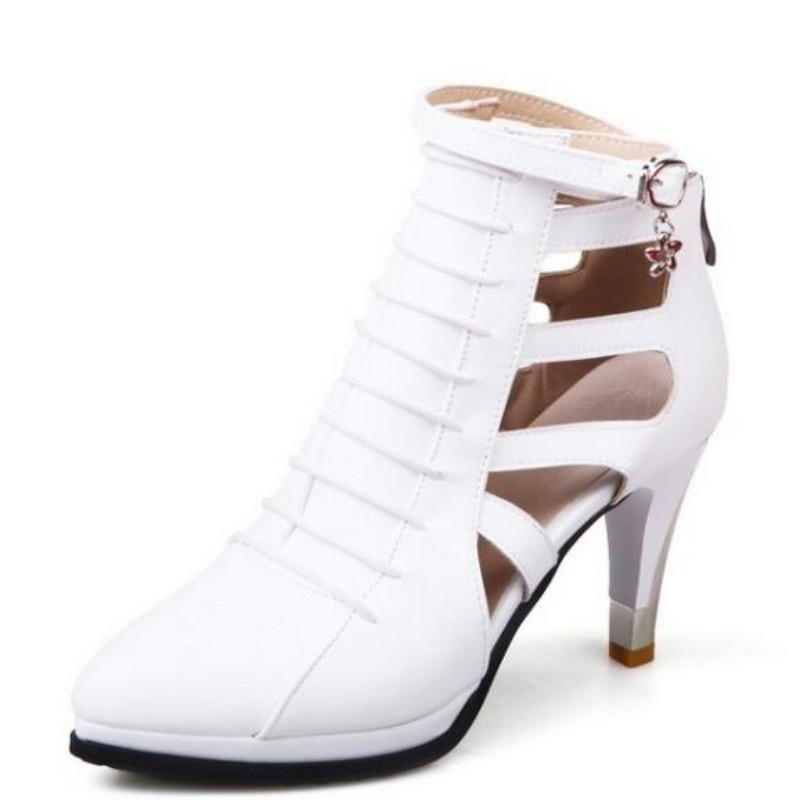 2017 New Arriver Euro Fashion Pointed Toe Thin Heels Solid Buckle Strap Ladies Dress Shoes For Womens Zipper Pumps Plus Size new 2017 spring summer women shoes pointed toe high quality brand fashion womens flats ladies plus size 41 sweet flock t179