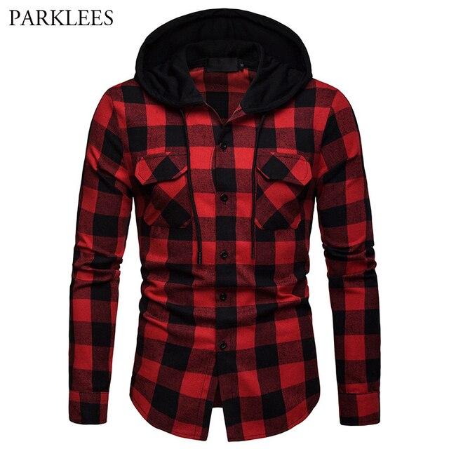 d16fd459b07 Camisa Hipster para hombre, camisas con capucha a cuadros rojo y negro de  Búfalo,