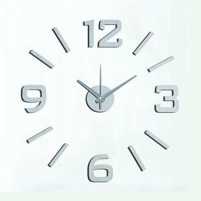 DIY Modern Fashion Creative Wall Clock Paste EVA Silver numeral Decoration Clock 60x60cm10EM101S