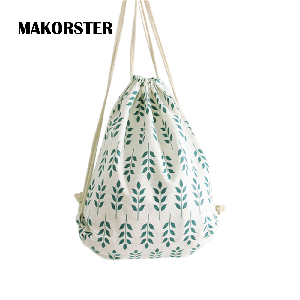 все цены на MAKORSTER 2017 women backpacks printing backpack mochila rucksack fashion tropical leaves canvas bags beach travel bag MK042 онлайн