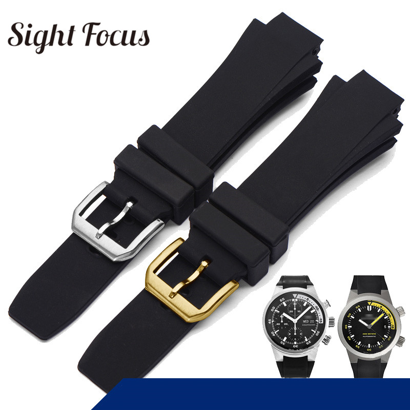 26x16mm Watch Band For IWC Aquatimer Replacement Strap IW354807 Bracelet For Men Black Silionce Rubber Belt Pin Buckle Masculino