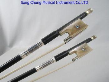 2pcs Professional plaid black Carbon fiber violin bow, #7912