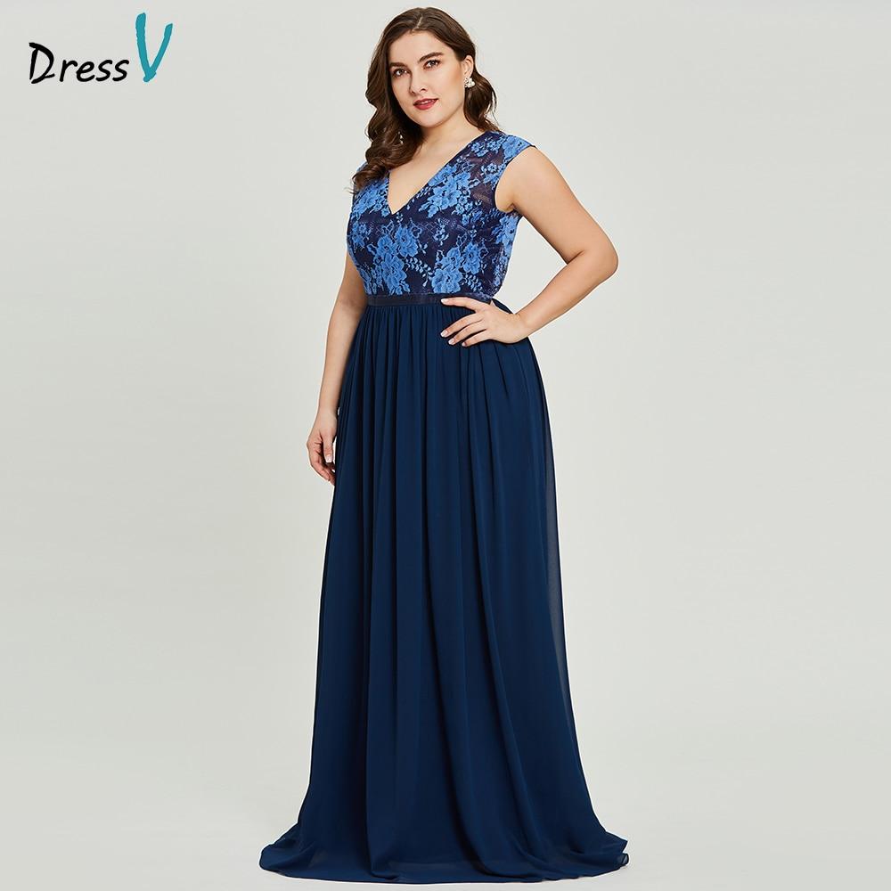 Dressv royal blue v neck plus size evening dress elegant a line sleeves wedding party formal dress backless evening dresses