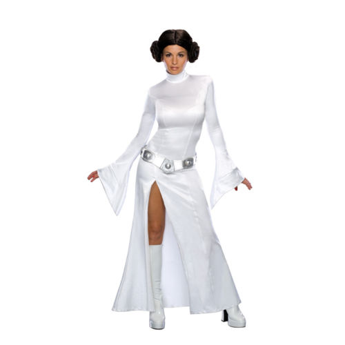 Adult Women Star Wars Cosplay Princess Leia Halloween Cosplay Costume Dress With Long Dress Side Leg Split+Belt+Wig