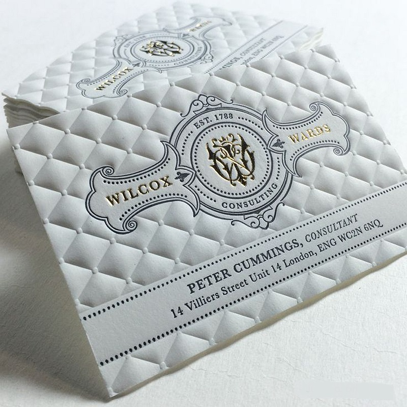 Personalized Letterpress Business Card Custom Gold Foil Stamping ...