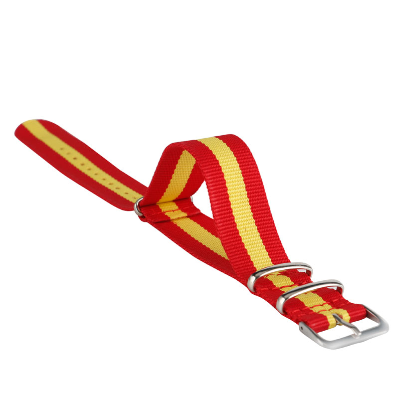 22mm Fabric Nylon Canvas Watch Band Strap NATO Spain Flag Style Red Yellow Stainless Steel Buckle Sports Casual Replacement