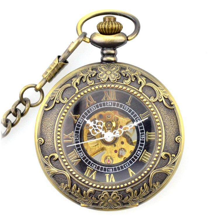Marrom Esqueleto Mecânica Vento Bolso & Fob Relógios Clamshell Lupa Relógio Masculino Feminino Pingente Caçador Completo Presente Mão