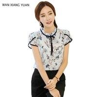 Floral Print Chiffon Blouse 2017 Summer Ruffled Collar Bow Neck Shirt Petal Short Sleeve Women Blouses Plus Size