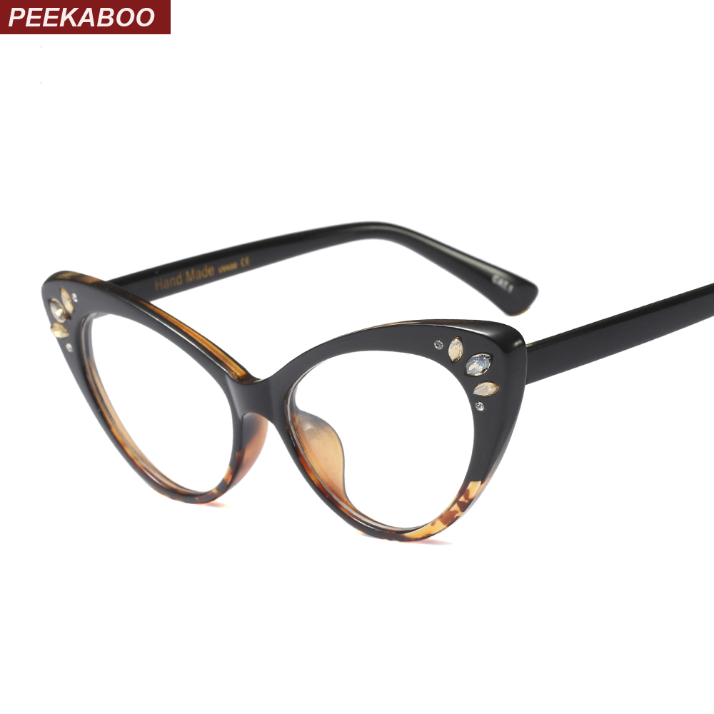 Peekaboo Rhinestone Glasses Frame Women Optical Sexy Cat Eye Glasses Frames For Women Black Purple Pink Brown