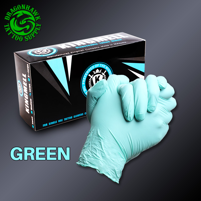New Arrival 100PCS Disposable Nitrile Tattoo Gloves Sterilized Latex Rubber New Tattoo Supply Green Colour(L)