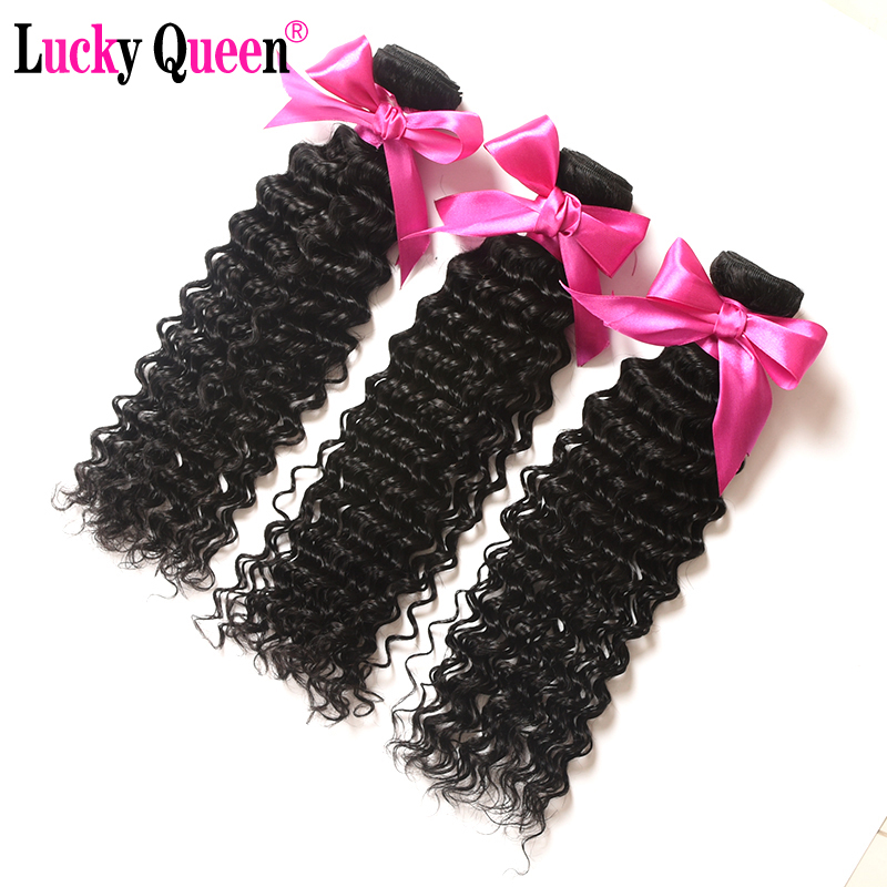 Lucky Queen Hair Deep Wave Peruano Cabello 100% Extensiones de - Cabello humano (negro)