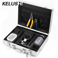 KELUSHI 13pcs Fiber Optic FTTH Tool Kit with HS 30 Fiber Cable Cleaver,Optical Fiber Stripper Tool Storage Box Alcohol Bottles
