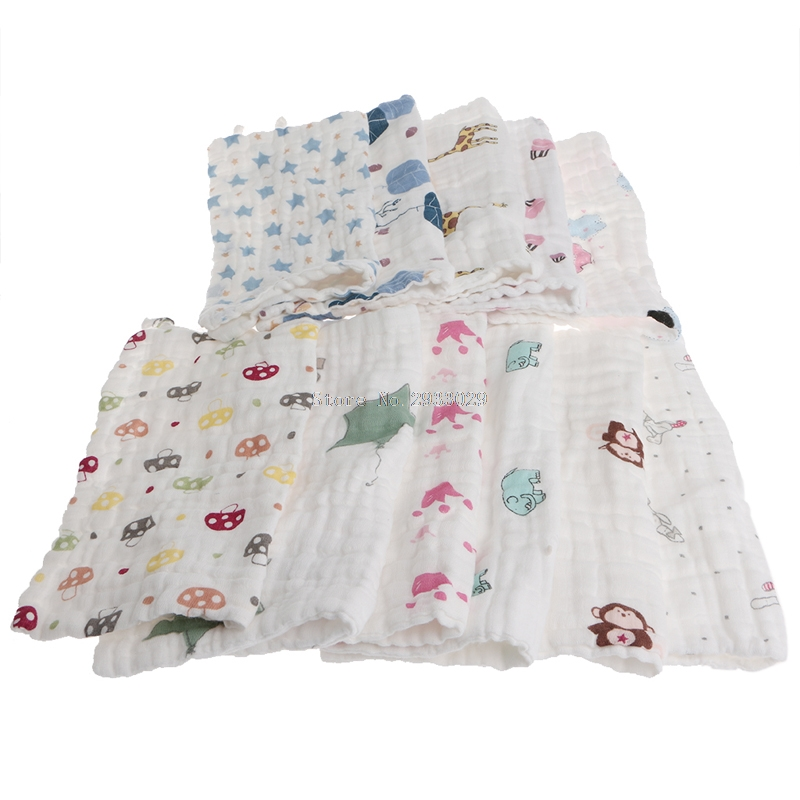 25x25cm Muslin 6 Layers Cotton Baby Wipe Towel Absorbent Soft Baby Handkerchief -B116